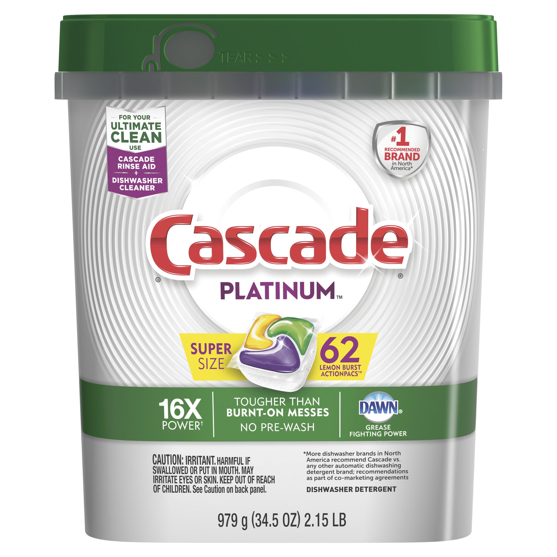 Cascade Platinum ActionPacs Dishwasher Detergent, Lemon, 62 count