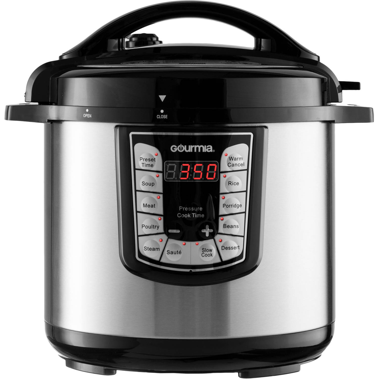 Gourmia GPC800 Stainless Steel 8-Quart Smart Pot Electric Digital Multifunction Pressure Cooker with 13 Programmable Cooking Modes