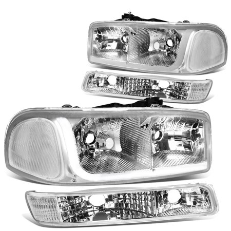 For 1999 to 2007 GMC Sierra 1500 2500 3500 / Yukon LED DRL Light Bar Headlight+Bumper Lamp Chrome Housing Clear Corner 00 01 02 03 04 05 06 4Psc