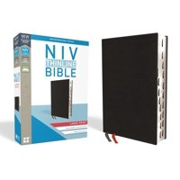 NIV, Thinline Bible, Large Print, Bonded Leather, Black, Indexed, Red Letter Edition (Hardcover)