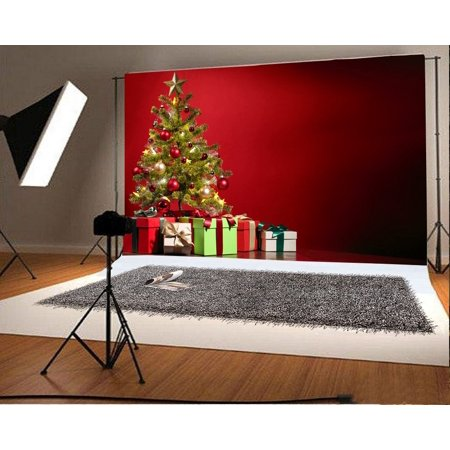 GreenDecor Polyster 7x5ft Christmas Decoration Tree Backdrop Gifts Box Red Abstract Wallpaper Interior Photography Background Kids Children Adults Photo Studio Props (Cool Halloween Background Wallpapers)