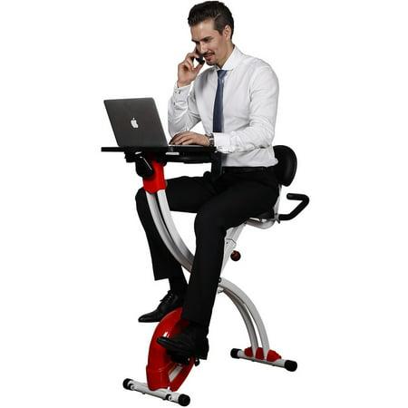 Super Loctek Foldable Upright Cycling Desk Exercise Bike With Laptop Table Red Short Links Chair Design For Home Short Linksinfo