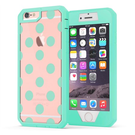 iPhone 6, iPhone 6s Case, True Color Polka Dots [Dots Collection] Printed on Clear Back Heavy Duty Hybrid + 9H Tempered Glass 360° Protection [True Armor Series] - Mint (iphone 6 mint rose case)