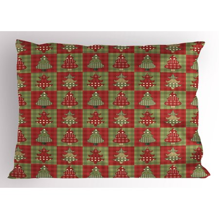 Christmas Pillow Sham Different Styled Noel Trees on Checkered Squares Background Vintage Quilt, Decorative Standard Queen Size Printed Pillowcase, 30 X 20 Inches, Ruby Reseda Green, by -