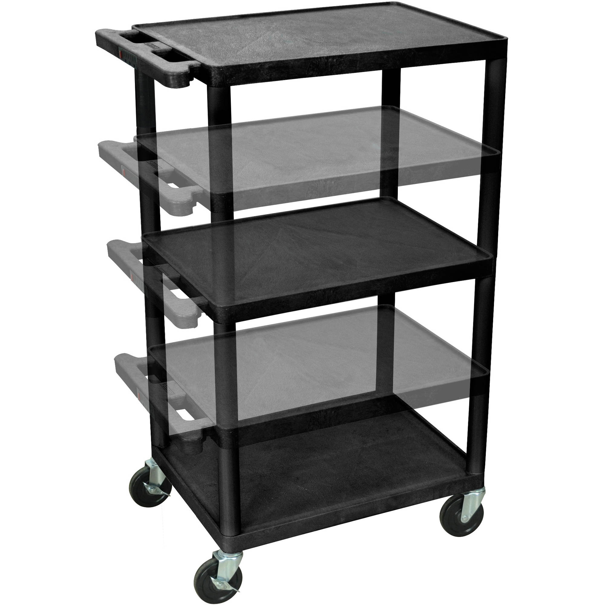 Luxor 3-Shelf Multi-Height A/V Cart with Electric, Black