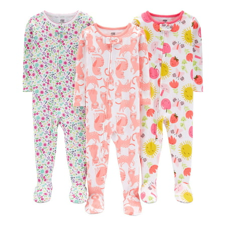Child of Mine by Carter's One piece footed snug fit cotton pajamas, 3pk (baby girls & toddler girls)](Mime Robe)