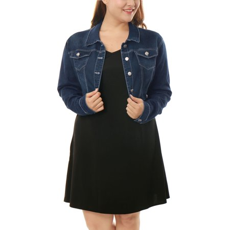 Women's Button Closed Cropped Denim Jacket, Plus Size