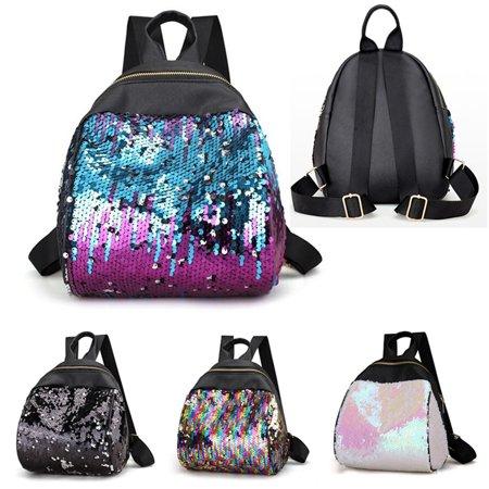 Meigar Sequins PU Leather Backpack Travel Handbag Rucksack Shoulder School Bag for Girls