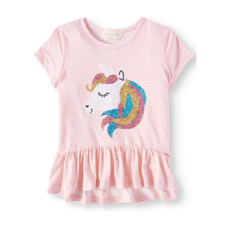 Sequin Unicorn Striped Ruffle Hem Top (Little Girls & Big Girls)