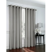 "1 PANEL Nancy  SOLID SILVER GRAY  SEMI SHEER WINDOW FAUX SILK ANTIQUE BRONZE GROMMETS CURTAIN DRAPES 55 WIDE X 84"" LENGTH"