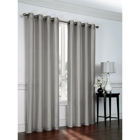 - 1 PANEL Nancy  SOLID SILVER GRAY  SEMI SHEER WINDOW FAUX SILK ANTIQUE BRONZE GROMMETS CURTAIN DRAPES 55 WIDE X 63