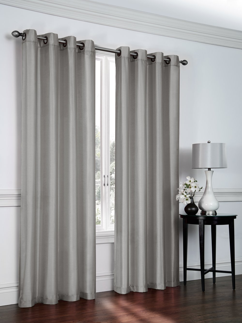 1 panel nancy solid silver gray semi sheer window faux silk antique bronze grommets curtain drapes