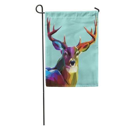 LADDKE Stag Colorful Deer Wild Low Poly Horns Head Christmas Reindeer Garden Flag Decorative Flag House Banner 12x18 inch](Reindeer Horns)