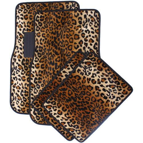 OxGord Universal Fit Front/Back Seat Leopard Carpet Mat