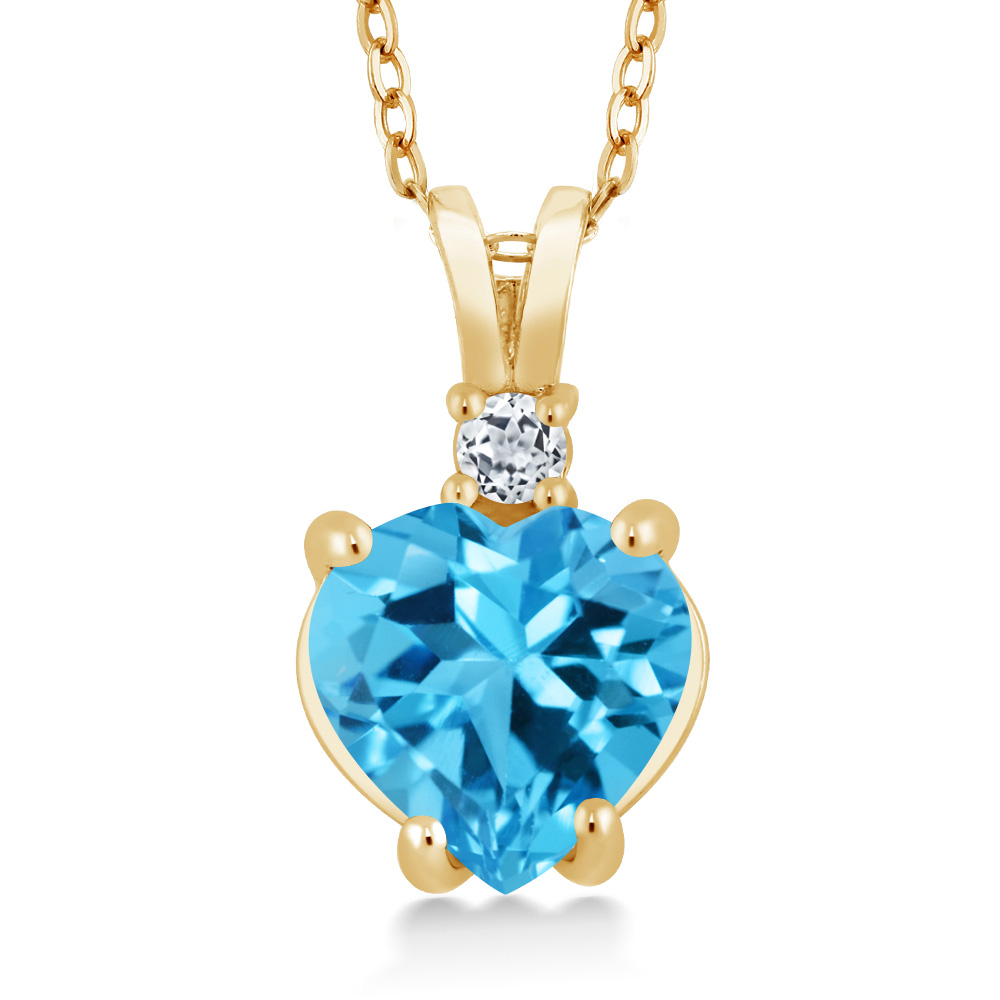 2.33 Ct Heart Shape Swiss Blue and White Topaz 14K Yellow Gold Pendant by