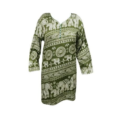 Mogul Women's Ethnic Tunic Dress Animal Print Rayon Green Kurti Kurta Summer
