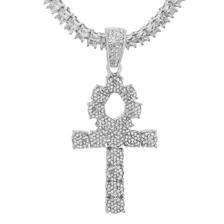 14K White Gold Plated Iced Out Hip Hop Bling Symbol Of Life Ankh Cross Pendant 1 Row Square Cubic Zirconia Princess Cut Stones Tennis Chain 20