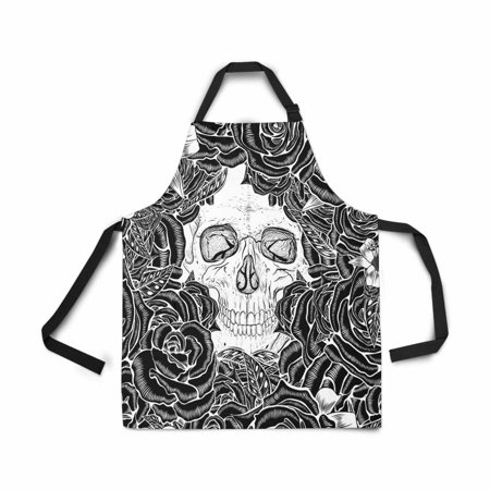 ASHLEIGH Adjustable Bib Apron for Women Men Girls Chef with Pockets Skull Flower Field Seamless Pattern Novelty Kitchen Apron for Cooking Baking Gardening Pet Grooming