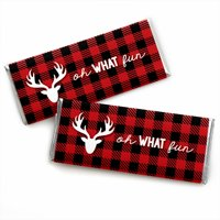 Prancing Plaid - Candy Bar Wrapper Christmas & Holiday Buffalo Plaid Party Favors - Set of 24