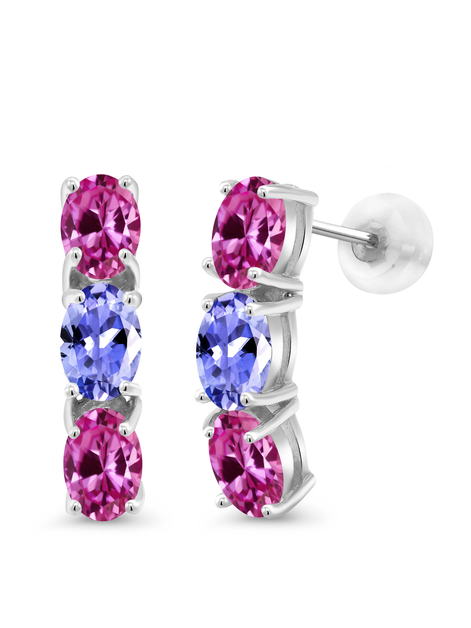 2.90 Ct Oval Pink Created Sapphire Blue Tanzanite 10K White Gold Earrings by