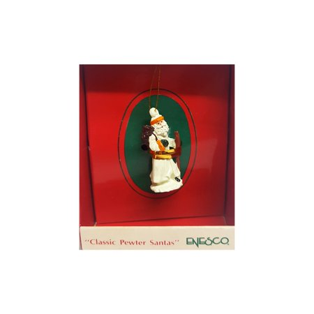 Vintage 1989 Enesco Small Wonders Miniature Ornament - Classic Pewter Santa ()