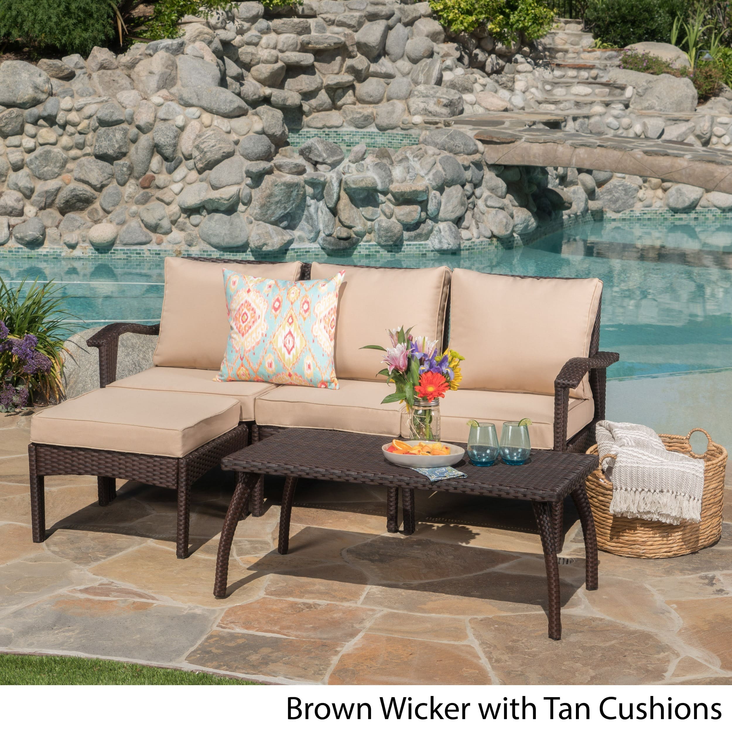 Christopher Knight Home Honolulu Outdoor 5-piece L-Shape Wicker Seating Set with Cushions by