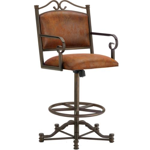 Sherwood Tilt Swivel Bar Stool with Arms Sherwood TSA Bar stool, Bronze Finish, MicroFiber