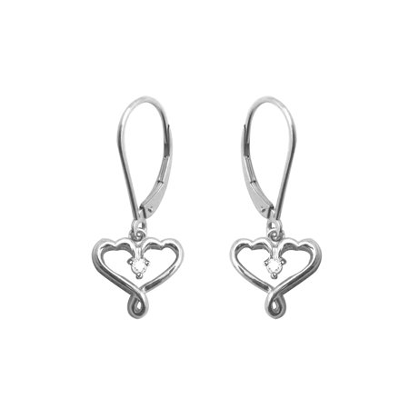 Round Cut Cubic Zirconia Drop Earrings In 14k White Gold Over Sterling Silver 0 08 Cttw