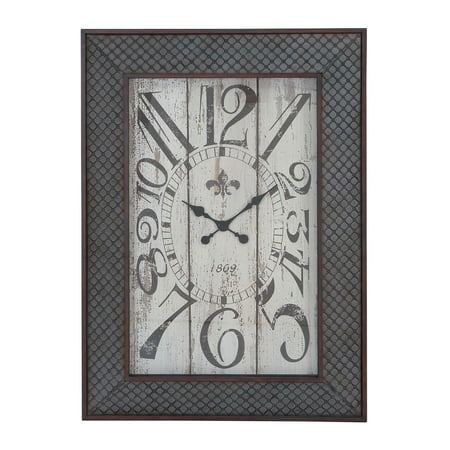 (Designed Metal Wood Wall Clock With Mesh Pattern)