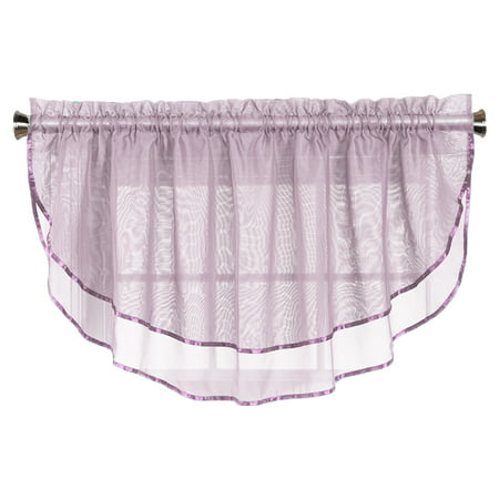 Sheer Voile Valance Curtain for Windows Size 54 in X 24 in Scalloped with Ribbon for Kitchens, Living Room, Dining Room, Bathroom, Bay Windows, Basement, Laundry Room (Lilac) ()