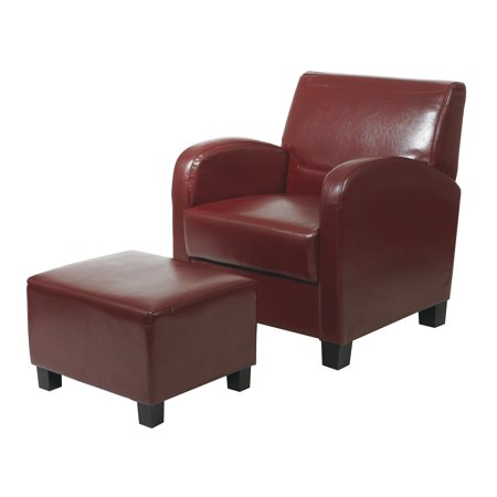 Office Star Metro Crimson Red Faux Leather Club Chair With Ottoman