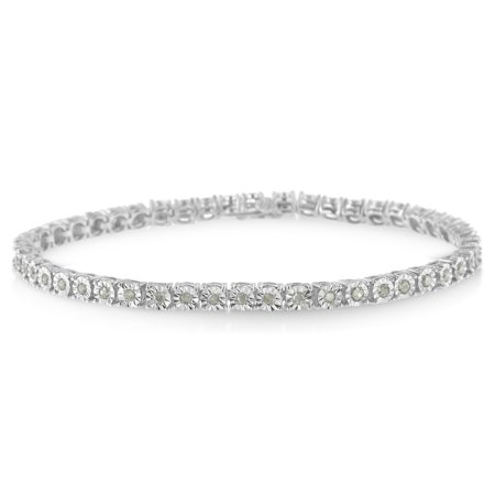 Original Classics Sterling Silver 1ct TDW Rose-cut Diamond Tennis Bracelet (I-J, (Tdw Diamond Bangle)