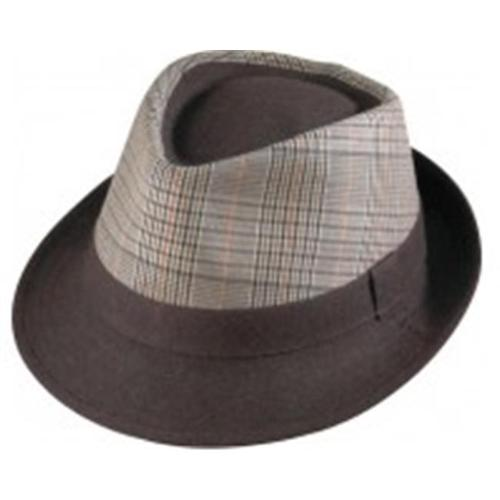 Henschel 4401-13XL Fedora Plaid Cover Wool Brim Hat Mens Satin Lining Brown Stylish, Tan, Extra Large