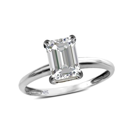 Star K Classic Octagon Emerald Cut 8x6mm Genuine White Topaz Solitaire Engagement Promise Ring