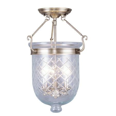 3 Arm Ceiling Light (Livex Lighting Jefferson - Three Light Semi-Flush Mount, Antique Brass Finish with Clear Diamond Glass)