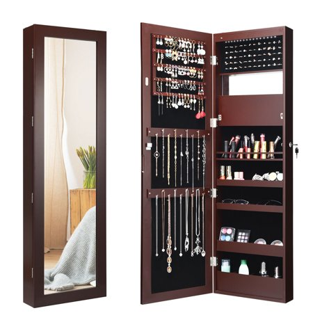 Gymax  Wall Door Mounted Lockable Jewelry Cabinet Armoire Organizer w/LED Arch Top Wall Jewelry Armoire