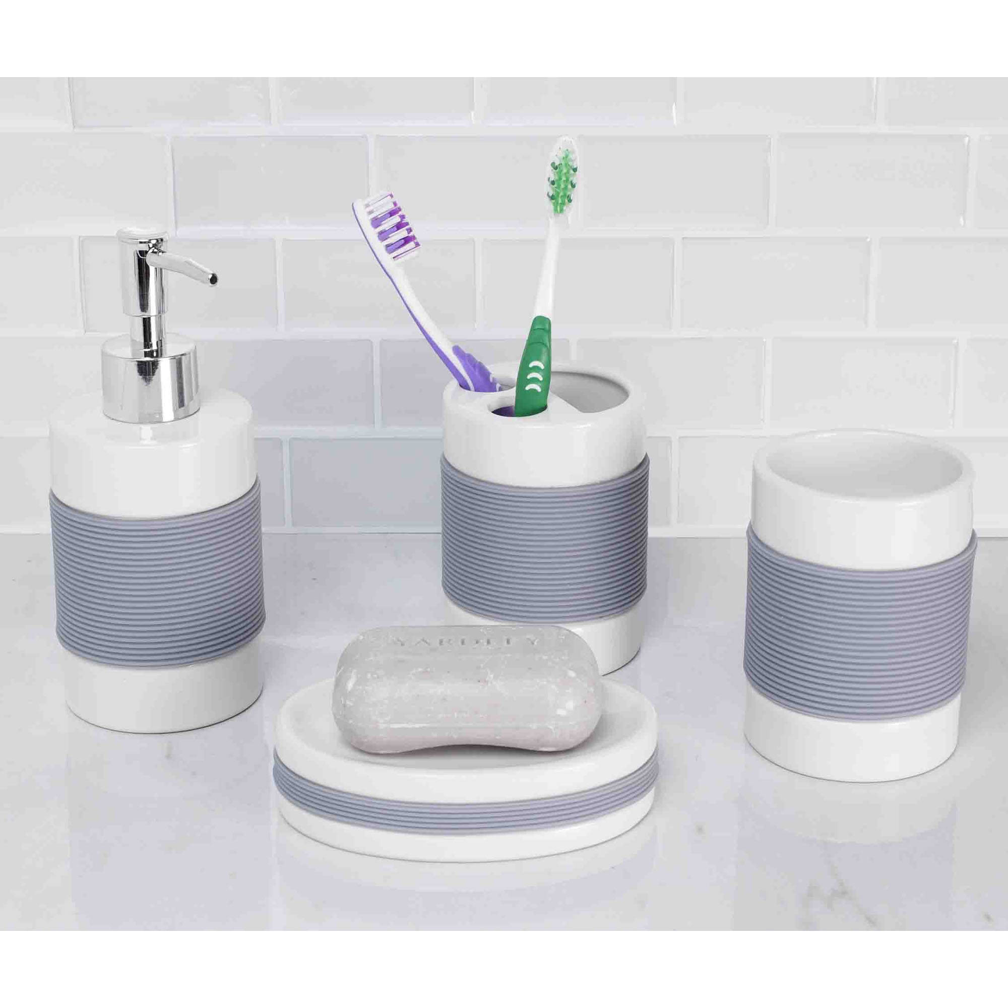 Home Basics 4-Piece White with Rubber Bathroom Accessory Set by Generic