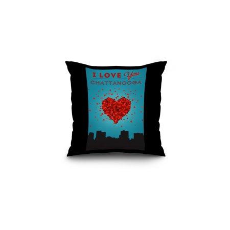 I Love You Chattanooga, Tennessee - Lantern Press Artwork (16x16 Spun Polyester Pillow, Black Border)
