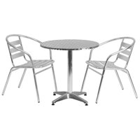 "Lancaster Home 27.5-foot Round Aluminum Indoor/ Outdoor Table with 2 Slat Back Chairs - 27.5""W x 27.5""D x 27.5""H"