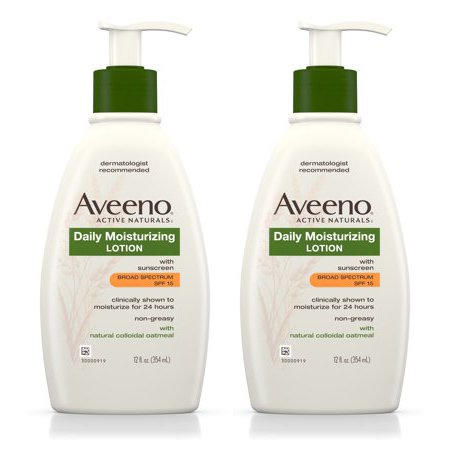 (2 pack) Aveeno Daily Moisturizing Body Lotion With SPF 15, 12 Fl. (Best Body Moisturizer With Spf)