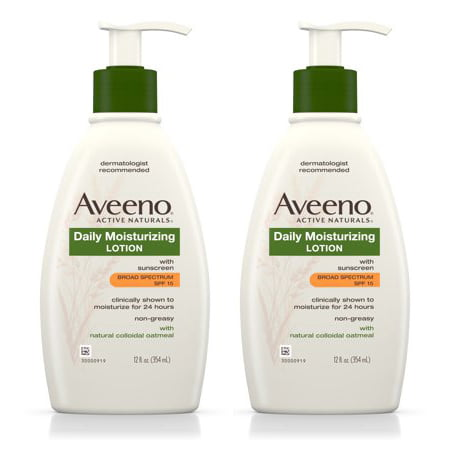 (2 pack) Aveeno Daily Moisturizing Body Lotion With SPF 15, 12 Fl. (Best Body Lotion With Spf In India)
