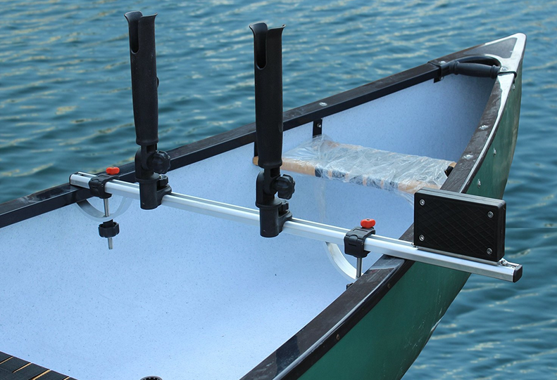 BroCraft Canoe Trolling Motor Universal Mount + Two Rocket Launcher Rod Holder by