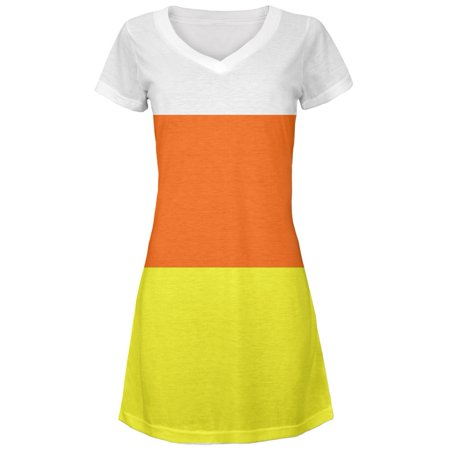 Halloween Candy Corn Costume Juniors V-Neck Beach Cover-Up Dress for $<!---->