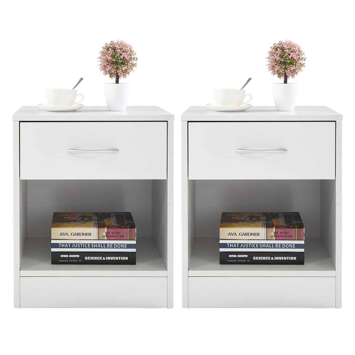 Jaxpety Set of 2 White Nightstand 2 Layer Bedside End Table Bedroom Organizer Furniture