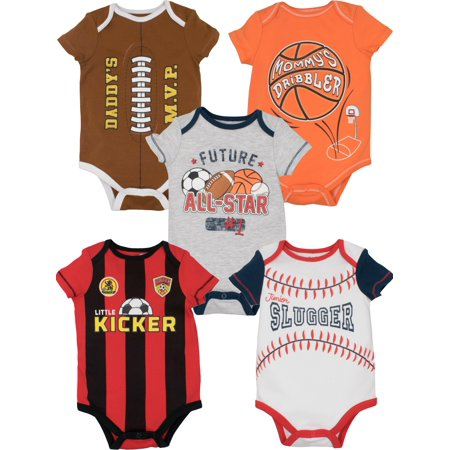 Funstuff Baby Boy Girl 5 Pack Sports Bodysuits Soccer Football Basketball Baseball (24 - Football Baby