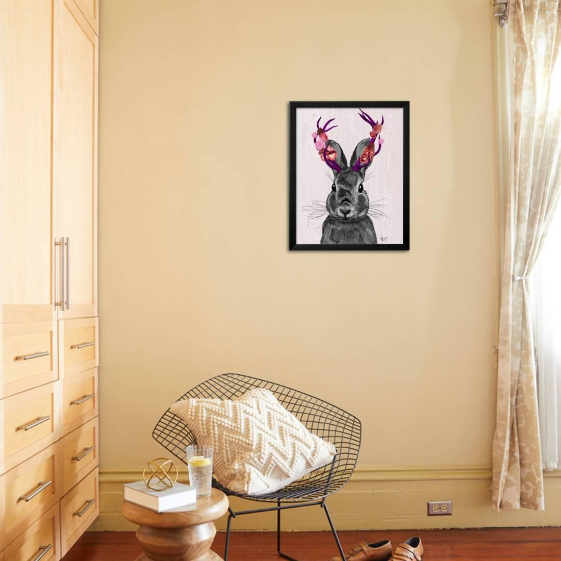 Jackalope with Pink Antlers Framed Print Wall Art By Fab Funky ...