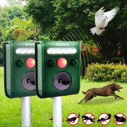 1/2Pcs KCASA Solar Battery Powered Ultrasonic Oudoor Pest and Animal Repeller, Waterproof Pest and Animal Control Motion Detection Rodent, Raccoon, Deer, Birds, Cats Repellent