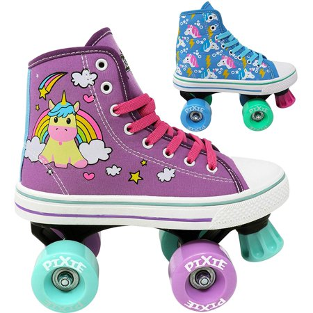 Lenexa Roller Skates for Girls - Pixie Unicorn Kids Quad Roller Skate - Indoor, Outdoor, Derby Children's Skate - Rollerskates Made for Kids - High Top Sneaker Style - Great for Beginner - Girl Pixie