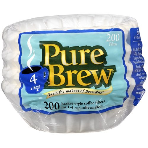 Pure Brew 4 Cup Basket Coffee Filters, 200 Ct