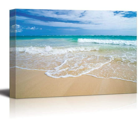 """wall26 Canvas Prints Wall Art - Romantic Scene of Sea Waves on the Tropical Hawaii Beach 